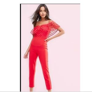 Missguided Women's Frill Lace Bodice Red Jumpsuit